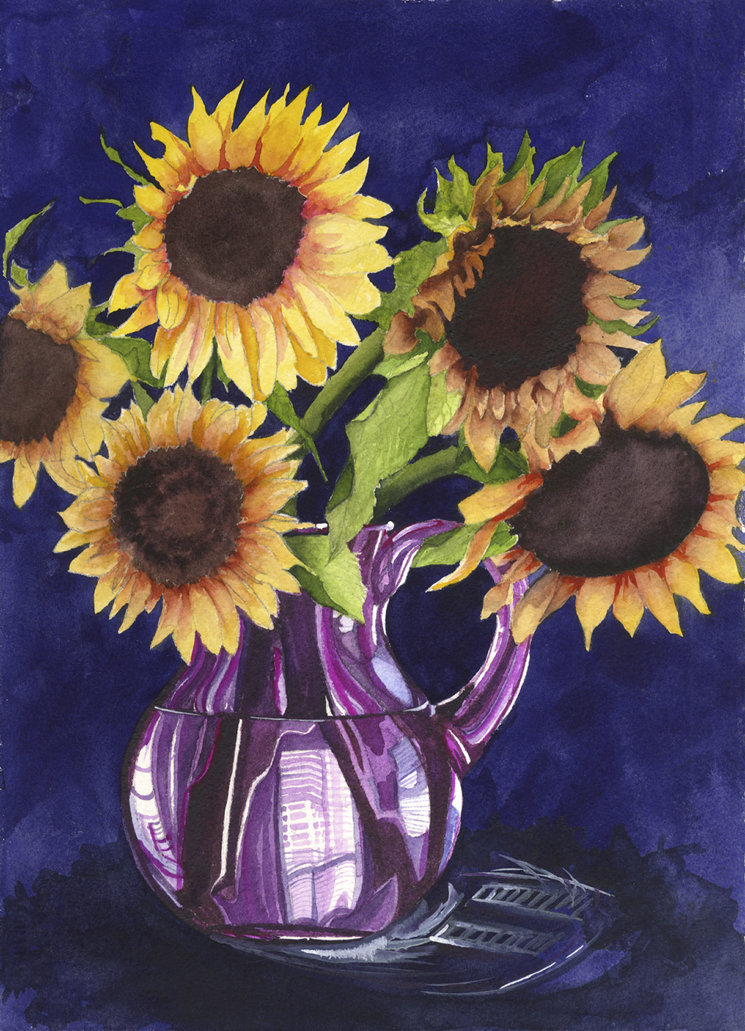 Sunflowers & Purple Pitcher